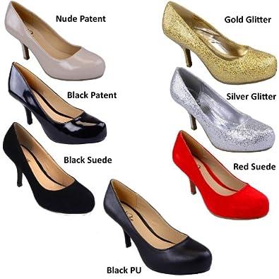 Damen Frauen Stiletto Schuhe Gering Heel Plateau Pumps Damenschuhe Arbeitsschuhe Größe 36-41 (EU 36 / UK 3 / US 5, Schwarz Faux Leder)