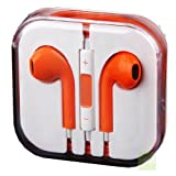 G4GADGET® Orange Earphones Headphones With Remote, Mic & Volume Controls For Apple iPad4 iPhone 5,Ipod All Mp3 Mp4 Players Sony Creative Samsung, All Laptop Pc And All Devices With A Standard 3.5Mm Jack Plug