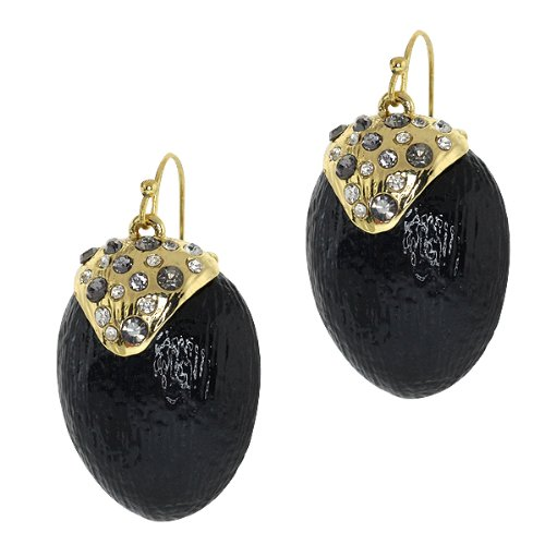 Black Resin With Multi Color Pave Crystals Earrings With Gold Plated Earwires