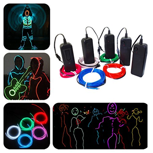 Yakamoz 9Ft Multiple Color-Set of 5 EL Wire Blue White Green Red Pink Neon Light Rope LED Light Strip Wires with 3 Modes for House Club Holiday Party Decor Cosplay Dress (Cosplay House compare prices)