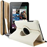 Gioia Bazaar 360 Degree Rotating Smart Leather Case Cover For Asus Google Nexus 7 Tablet White
