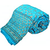 Shopnetix Jaipuri Hand Block Print Traditional Desgin Double Bed Jaipuri Razai - Quilt