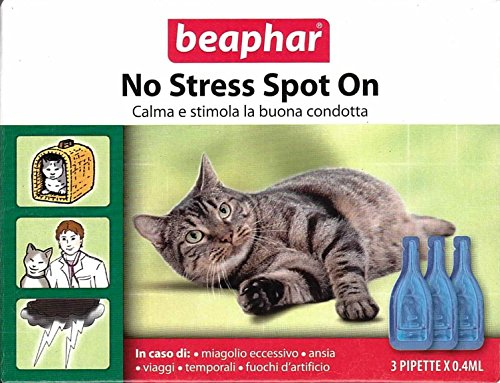 Beaphar Gatto No Stress Spot On 3 PIP da 0,4 ml - Ideale per le vacanze - 100% Naturale a base di Valeriana