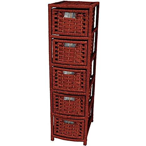Oriental Furniture Great Price Quality Design DVD/CD Media Storage, 41-Inch Rattan Style Natural Fiber 5 Drawer Narrow Chest, Mahagony