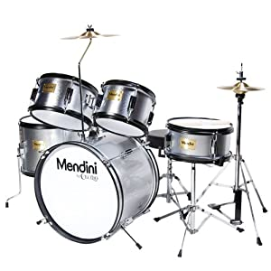 Mendini by Cecilio 5-Piece 16-inch Junior Drum Set + Cymbals, Drumsticks & Adjustable Throne by Cecilio Musical Instruments