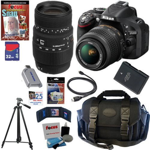 Nikon D5200 24.1 Mp Cmos Digital Slr Camera (Black) With 18-55Mm F/3.5-5.6G Af-S Dx Vr Lens And Sigma 70-300Mm F/4-5.6 Sld Dg Macro Lens With Built In Motor + 10Pc Bundle 32Gb Deluxe Accessory Kit