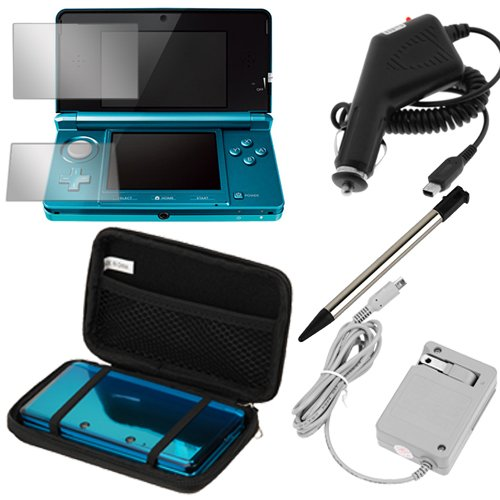 GTMax Black Eva Pouch Case + Black Car Charger + Flip Home Wall Charger + Clear Screen Protector + Black Retractable Metalic Stylus for Nintendo 3DS