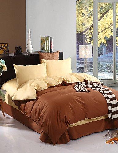 WAKXZH ® bicolore copertura federe lenzuolo piumino (canarino + caffè)