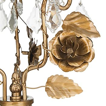 'Madeleine Collection' 3 Light Candelabra Centerpiece Taper Candle Holder with Removable Tea Light Glass Votive (Gold)