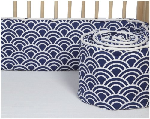 Navy And White Crib Bumper