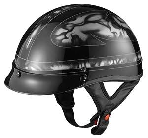 GLX Silver Skull Motorcycle Half Helmet (X-Large) from GLX Helmets