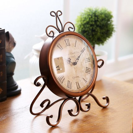 ECVISION European Style Retro Antique Retro Vintage-Inspired Wrought Iron Craft Table Clock For Hall,Shoe Cabinet,Restaurant,Bedroom Nightstand,Dresser,Garden Home Decor Desk Clock 1