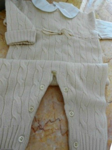 Review Pure Cashmere, Off White, Cable Knit One Peace Baby Outfit, 12-18 Month  Review