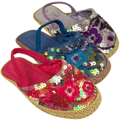 Girls Kids Sequin Sandals Sandal Mules Shoes Slip on Summer Holiday Size 6-12