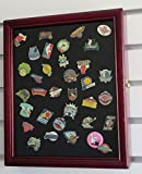 Lapel, Hard Rock, Disney Pin Display Case Shadow Box, glass door, Cherry Finish (PC02-CH))