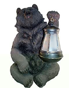 Brown Grizzly Bear Holding Solar Lantern