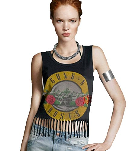 Plusasa Women Fashion Guns N Roses Classic Tassels Casual Tank Top - XS to XXL
