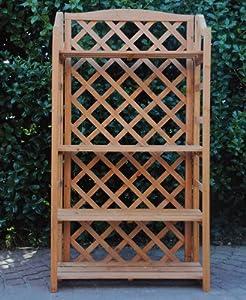 Scaffale portavasi in legno grigliato con 4 ripiani for Portavasi in legno