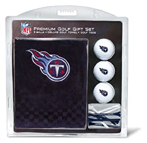 NFL Tennessee Titans Embroidered Golf Towel (3 Golf Balls 12 Tee Gift Set) by Team Golf