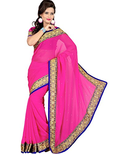 Cbazaar Pink Chiffon Saree with Blouse Piece