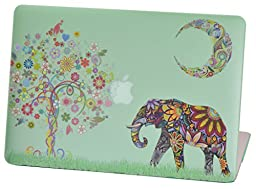 Macbook Pro Retina 15 inches Rubberized Hard Case for model A1398, Cas Graphique Moon Elephant Design with Green Bottom Case, Come with Keyboard Cover