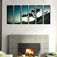 999Store Fiber Framed Printed Black And White Tree Art Panels Wall Painting- 6 Frames