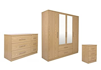 GFW Manhattan Range 3 Piece Bedroom Set - Bedside Cabinet + 3+3 Drawer Chest + 4 Door Wardrobe With Mirror- Oak Finish Colour