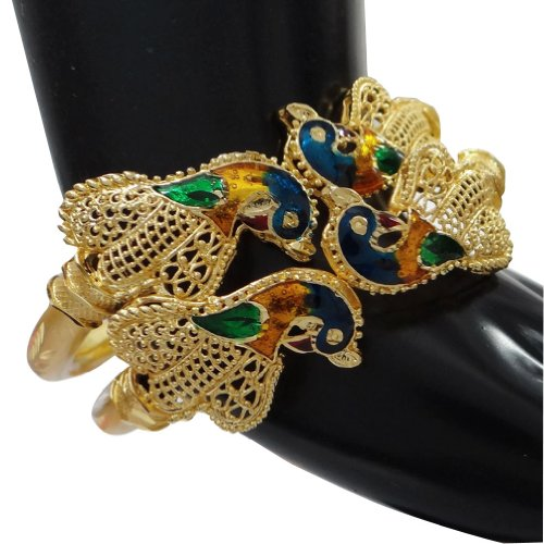 Gold Plated Peacock Design Hinged Bangle Set Fashion Jewellery Churi Indian Wear Costume Jewellery SIZE 2*6