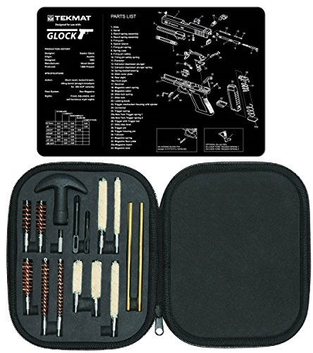 Ultimate Arms Gear Gunsmith & Armorer's Cleaning Work Bench Gun Mat Glock + Professional Tactical Cleaning Tube Chamber Barrel Care Supplies Kit Deluxe 17 pc Handgun Pistol Cleaning Kit in Compact Molded Field Carry Case for .22 / .357 / .38 / 9mm / .44 / .45 Caliber Brushes, Swab, Slotted Tips and Patches