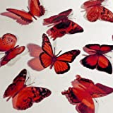 Butterfly 3D Translucent Decoration 12 RED Butterflies