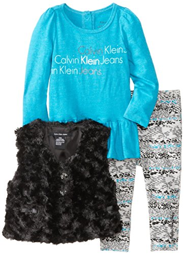 Calvin Klein Baby-Girls Infant Vest With Blue Top And Printed Pants, Multi, 18 Months