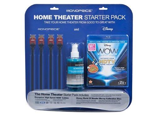 Monoprice Home Theater Starter Kit Including Disney Wow: World Of Wonder Calibration Bluray Single D