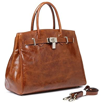 Vicenzo Shelby Brown Distressed Leather Handbag, Tan