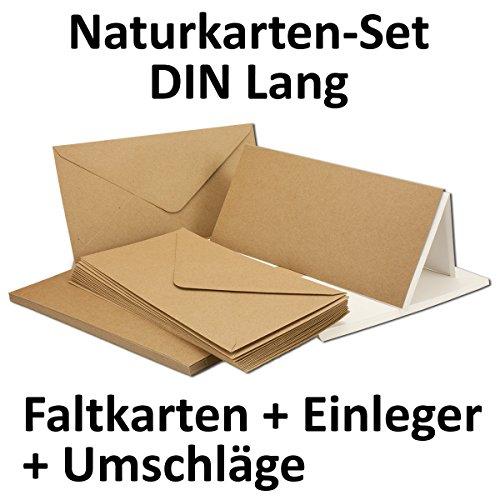 kraftpapier karten inklusive briefumschl ge einlegebl tter 50er set blanko recycling. Black Bedroom Furniture Sets. Home Design Ideas