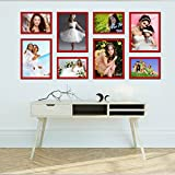 Elegant Arts & Frames High Quality PVC Group Collage Photo Frame Set Of 8 Red
