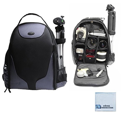 Professional Camera/Camcorder Padded Backpack For Canon 70D, 60D, 6D, 7D, 40D, 30D, 20D, 1D, 1Dc, 1Ds, 1Dx, Sl1, Eos-M, 5D, 5D Mark Ii, 5D Mark Iii, T1I, T4I, T5I, Xt, Xti, T3, T5 & More... + Microfiber Cloth