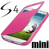 Samsung Galaxy S4 Mini i9190 / S4 Mini LTE i9195 S-View Flip Cover Pink Hülle Tasche wie S-View Akkudeckel Flip Case + Gratis Displayschutzfolie !!