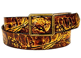 Women's Handmade Happy Trails Leather Belt 28 Amber at Amazon Women