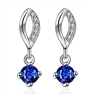 SunIfSnow Women Beautiful Sapphire Inlaid Lips Drop Earrings blue