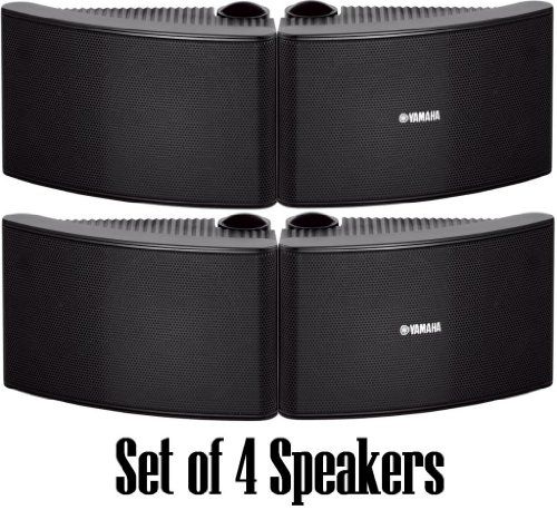 Yamaha All Weather Outdoor / Indoor Wall Mountable Natural Sound 120 Watt 2 Way Acoustic Suspension Speakers - Set Of 4 - Black - With 100Ft 16 Awg Speaker Wire - Compatible With All Audio / Video Home Theater Sound Systems, Components, Cd Players, Or Rec
