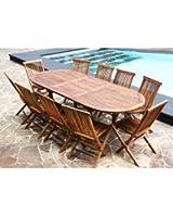 Salon de jardin en Teck Huilé - Table ovale 8/10 personnes + 10 chaises pliantes