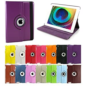 GMYLE Purple 360 Degree Rotating Swivel Magnetic Wake Up Sleep Smart Leather Stand Cover Folio Portfolio Case
