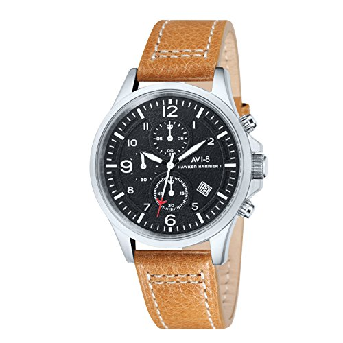 AVI-8 Hawker Harrier Ii Men's Quartz Watch with Black Dial Chronograph Display and Brown Leather Strap AV-4001-02
