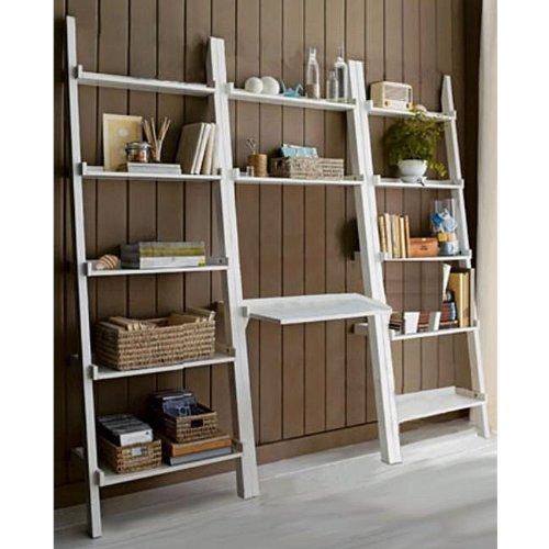 3 piece White Leaning Ladder Bookshelf with Laptop Desk