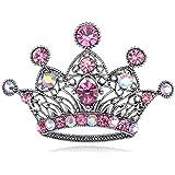 Antique Tone Fuchsia Crystal Rhinestone Filigree England Queen Crown Pin Brooch