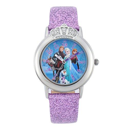 Disney Eiskönigin W001808-Mädchen-Armbanduhr Analog Blau-Armband Leder, Glitzer-Optik-Untersetzer Rosa