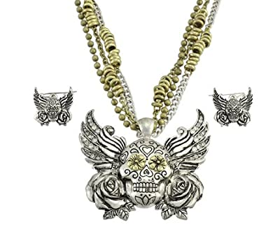 Two-Tone Winged Day of the Dead Sugar Skull Necklace / Earrings Set from Things2Die4