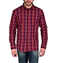 Enryca Men's Casual Shirt(ENMSH 0100RED -M_Red_40)