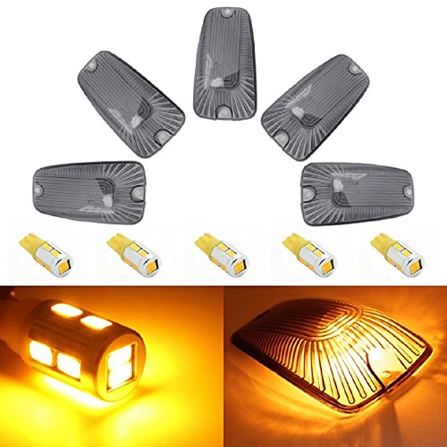 Partsam 5 X Roof Cab Marker Clearance Light Smoke Cover+T10 168 High Power Amber Led Bulb For Gmc C2500 C3500 1988 -2000