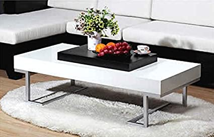 S & E+ White Finish Coffee Table